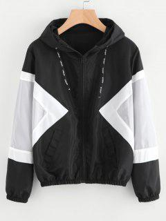 Color Block Zip Up Water Repellent Jacket - Black M