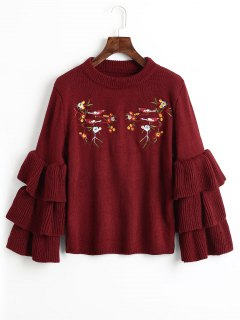 Layered Sleeve Floral Embroidered Sweater - Wine Red