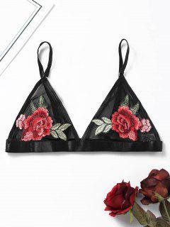 Sheer Mesh Embroidered Bralette - Black L