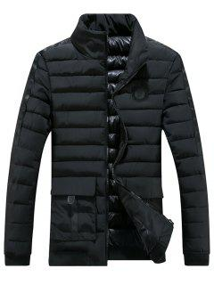 Chest Patched Zip Up Puffer Jacket - Black Xl