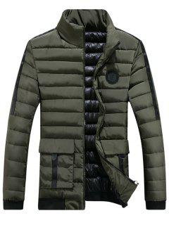 Chest Patched Zip Up Puffer Jacket - Green Xl
