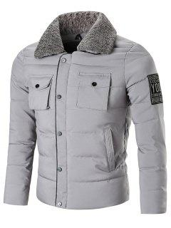 Zip Up With Snap Button Closure Winter Jacket - Gray 2xl