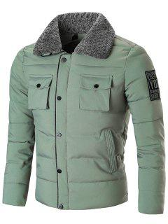 Zip Up With Snap Button Closure Winter Jacket - Green 3xl