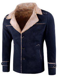 Plush Lined Notch Lapel Trucker Jacket - Cerulean 2xl