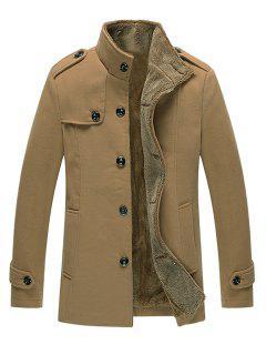 Epaulet Embellished Singe Breasted Fleece Jacket - Khaki 4xl