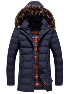 Faux-fur Trim Hooded Puffer Jacket - Blue 2xl