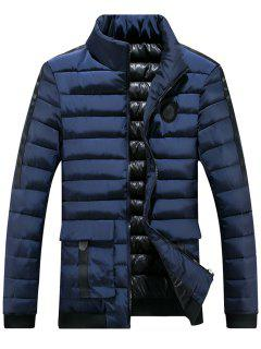 Chest Patched Zip Up Puffer Jacket - Blue 3xl