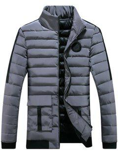 Chest Patched Zip Up Puffer Jacket - Gray 3xl