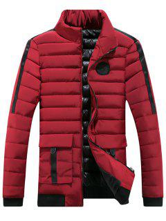 Chest Patched Zip Up Puffer Jacket - Red 3xl