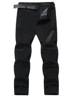 Bolsillos Con Cremallera Pantalones De Lana - Negro 3xl