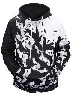 Kangaroo Pocket Birds Print Hoodie - White And Black M