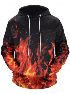 Kangaroo Pocket Drawstring Flame Hoodie - Black M
