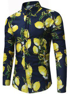 Lemon Print Long Sleeve Shirt - Purplish Blue L