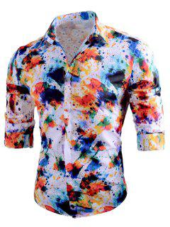 Casual Splatter Painted Long Sleeve Shirt - Xl