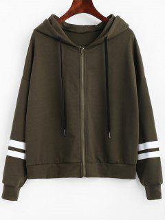 Zip Up Striped Drawstring Hoodie - Army Green M
