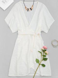 Plunging Neck Mini Wrap Dress - White M