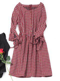 Halber Knopf Mini Kariertes Kleid - Weinrot L