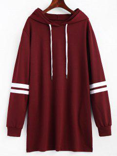 Striped Longline Drawstring Hoodie - Wine Red Xl