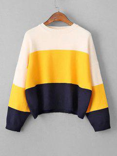 Crew Neck Color Block Cropped Sweater - Yellow