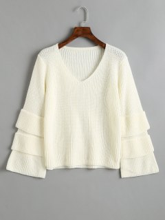 Pullover Layered Sleeve V Neck Sweater - White
