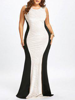 Vestido De Sirena Sin Mangas De Talla Grande - Blanco 5xl