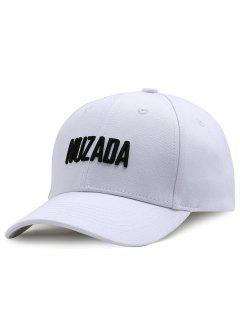 Outdoor NUZADA Pattern Embroidery Adjustable Baseball Cap - White