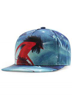 Shaman Pattern Embellished Adjustable Baseball Cap - Blue