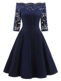 Spitze Aus Der Schulter Vintage Flare Dress - Blau S