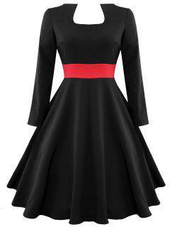 Vestido De Manga Larga Vintage Color Block - Negro M