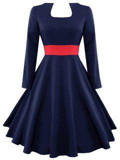 Robe Vintage Contrastante à Manches Longues - Bleu Violet S