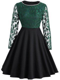 Leaf Lace Panel Vintage Dress - Blackish Green 2xl