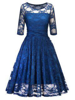 Vintage Spitze Party Fit Und Flare Kleid - Blau 2xl