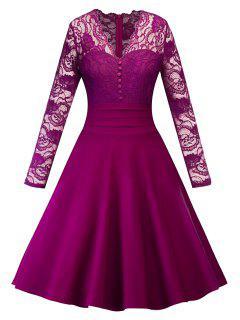 Vestido De Fiesta De Encaje Con Pinza De Encaje Vintage - Rojo Purpúreo 2xl
