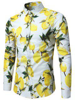 Lemon Print Long Sleeve Shirt - White L