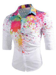 Long Sleeve Color Paint Splatter Shirt - White 2xl