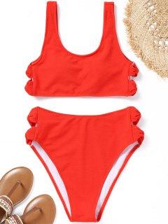 Bowknot Texturierter High Cut Bikini Set - Roter Zirkon S