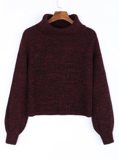 Turtleneck Heathered Pullover Sweater - Wine Red