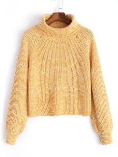 Rollkragen Melierter Pullover - Gelb