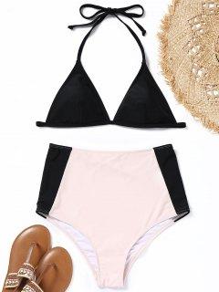 Gepolsterter Zweifarbiger Hoher Taillierter Bikini - Schwarz & Pink S