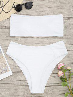 Bandeau High Cut Plus Size Bikini - White 2xl