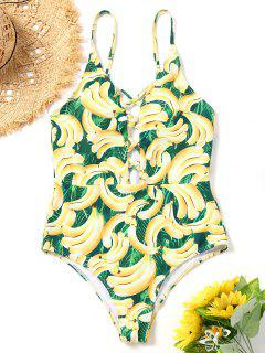 Strappy Banana Print One Piece Swimsuit - L
