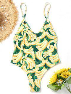 Banana Print - Hoch Geschnittener Badeanzug - M