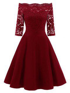Robe Évasée Vintage à Épaules Dénudées  En Dentelle - Rouge Vineux  S