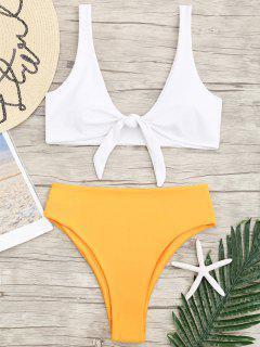 Two Tone High Cut Knotted Bikini Set - White M