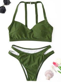 Cutout Bikini Set - Army Green M