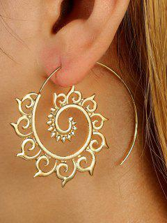 Unique Metal Hoop Earrings - Golden