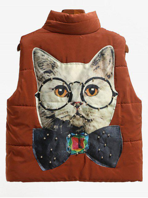 latest Beading Cat Patched Back Puffer Waistcoat - DARK AUBURN M Mobile