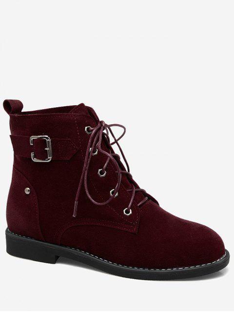 hot Tie Up Buckled Faux Suede Ankle Boots - WINE RED 42 Mobile