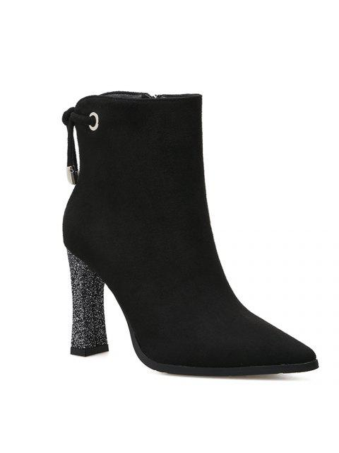 chic Shimmering Heel Point Toe Ankle Boots - BLACK 36 Mobile