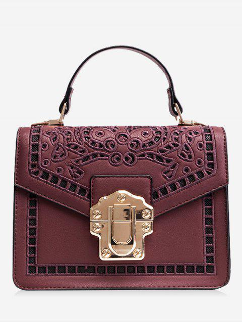 women's Embroidered Faux Leather Handbag - PURPLISH RED  Mobile